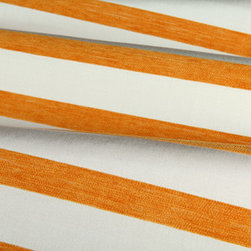 Miyoko Stripe Outdoor Fabric in Cream/Orange - Miyoko Outdoor Fabric: Cream & Orange Stripe Sunbrella 100%  Acrylic. Great for reupholstering chairs or patio & dinning room furniture, or accent pillows.