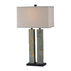 """Kenroy Home - Kenroy Home 21039 30.375"""" Single Light Slate Table Lamp - Contemporary / Modern 30.375"""" Single Light Slate Table Lamp with Rectangular Shade from the Barre CollectionTwo columns of Natural Slate create a balance in Barre, unifying Asian-inspired and natural design.  A box shade enhances the clean lines.Features:"""