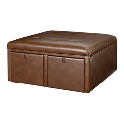 Hammary - Hammary Hidden Treasures Square Cocktail Ottoman in Cantina Cocoa - Square Cocktail Ottoman in Cantina Cocoa belongs to Hidden Treasures collection by Hammary The Hidden Treasures Cantina Cocoa Square Cocktail Ottoman by Hammary is a must-have for any living or family room. Two storage drawers are great for extra pillows, blankets, craft supplies, and other household knick-knacks. Place in front of your favorite chair or sofa for a comfortable footrest. Makes for additional seating when guests arrive.