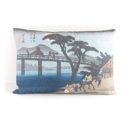 Poetic Pillow - Hiroshige Nagakubo Pillow - Transform any space with a pillow from Poetic Pillow. Each pillow is inspired by fine works of art and printed on the front and back.   Covers are made of pre-shrunk satin-like polyester fabric. All seams are finished to prevent fraying and pillow covers have a knife edge finish.. A concealed zipper allows for ease of inputting pillow inserts.  A duck feather insert is included for soft yet supportive feel.  Cushion inserts are encased in a cotton cover and filled with 100% duck feather.  All research, design and packaging is completed in Oakland, California.