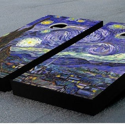 Victory Tailgate - Victory Tailgate Starry Night Tournament Cornhole Set Multicolor - 10413 - Shop for Backyard Games from Hayneedle.com! The swirls of Van Gogh's famous painting dominate the unique Victory Tailgate Starry Night Tournament Cornhole Set. This ACA-certified pro set is built the right way - .5-inch cabinet-grade birch playing surfaces 2x4 frames and folding legs and all the right measurements. Each 2-foot x 4-foot board sits 4 inches off the ground in front and 12 in back. The 6-inch target whole is 9 inches from the top and 12 inches from each side. You'll also get a complete set of 8 matching duck cloth ACA-certified bags. Each is 6 inches square and weighs between 15 and 16 ounces filled with whole-kernel corn.