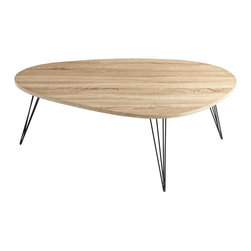 Cyan Design - Cyan Design Lunar Landing Transitional Coffee Table X-55360 - From the Lunar Collection, this Cyan Design coffee table features an organic shape that draws inspiration from mid-century modern designs. The hairpin style legs echo the same style inspiration, and this contemporary coffee table features beautiful Oak finishing with iron legs.