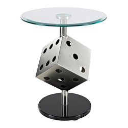 Powell - Powell Snake Eyes Metal and Glass Table - The snake eyes metal and glass table is a fun addition to any game space, man-cave or bachelor pad. The sturdy round black bottom holds up a spacious round glass tabletop. A large, silver dice separates the two and brings a funky, contemporary look to this somewhat simple design. Some assembly required.
