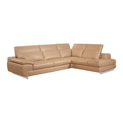 JNM Furniture - Oregon II Modern Italian Leather Sectional Mouton Color , Left Facing Chaise - Italian Leather sectional set by Nicoletti Italia.  Fashionable and stylish in black & mouton top grain leather.Fixed seats and lumbar support cushions & backs have high density foamto give you extra comfort and support.Available in Right Hand Facing Chaise and Left Hand Facing Chaise. Nicoletti Italia is the premier leather sofa manufacturer in the business offering unmatched craftsmanship and leather quality.