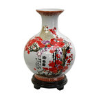 Oriental Unlimted - 9.5 in. Dia. Cherry Blossom Porcelain Vase - Rosewood stand sold separately. A unique and distinctive Oriental style flower vase. A lovely decorative accent, as well as a beautiful gift idea. Fine quality Chinese porcelain vase with distinctive globe design. This item shot with the stand for illustration purposes, the stand is sold separately. Please select the 6 in. Dia. size of our Rosewood Pedestal Stand, Rosewood Carved Stand, or Rosewood Vase Stand.. 9.5 in. Dia. x 12 in. H (4 lbs.)