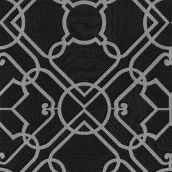 Ironwork Damask Wallpaper, Black-Grey, Bolt - • Vinyl Covered Paper