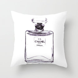 Chanel No. 5 Throw Pillow by Alicia Evans - Add some grown-up fashion to a growing girl's room with these Chanel-inspired pillows.