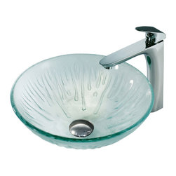 Vigo - Vigo Molded Ice Vessel Sink and L-Shaped Faucet - This frosted glass vessel sink from Vigo Industries has an ethereal quality to it. Featuring a single-lever faucet with a modern, L-shaped spout and polished chrome finish, the Molded Ice Vessel Sink and Faucet set is made of tempered glass and brass for durability