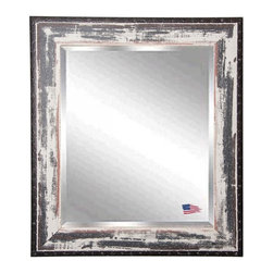 Rayne Mirrors - American Made Distressed Rustic Ivory & Black Rivet Trim Beveled Wall Mirror - This heavily distressed wall mirror will enhance any room's decor. This beautiful beveled wall mirror features a rustic white wash finish and dark rivet trim that will compliment any decor.  Rayne's American Made standard of quality includes; metal reinforced frame corner  support, both vertical and horizontal hanging hardware installed and a manufacturers warranty.