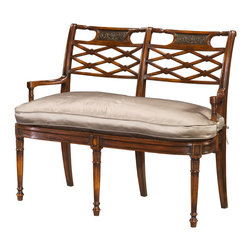 "Theodore Alexander - Frederica's Settee - A hand carved double chair back settee, with lattice and repouss silvered panel backs, arms and silk cushion seat, on fluted legs.  Based on the original Louis XVI design.  Seat Height: 17 3/4""  Arm Height: 25 1/2""  We use the time-honoured techniques of lost wax casting, sand casting and wrought iron in our very own foundry.  From the hand carved wax to hand polishing and finishing, these processes take time and great care to meet our meticulous standards.  Theodore Alexander upholstery uses the finest quality materials and is hand applied by expert craftspeople to ensure the highest standards in comfort, longevity and style.  Our craftsmen select wood based on beauty, colour and suitability to each individual piece.  We still use traditional furniture making, wood working techniques and materials to ensure enduring quality in every one of our products."