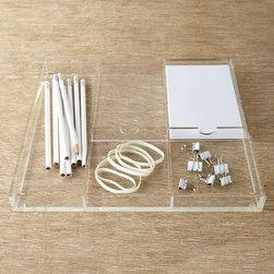 "Horchow - Acrylic Accessory Organizer - Acrylic Accessory OrganizerDetailsClear acrylic with polished edges.Five compartments.12.5""W x 11.375""D x 1.25""T."