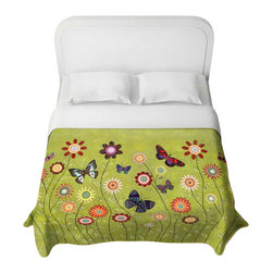 DiaNoche Designs - Bohemian Butterflies Duvet Cover - Lightweight and super soft brushed twill duvet cover sizes twin, queen, king. Cotton poly blend. Ties in each corner to secure insert. Blanket insert or comforter slides comfortably into duvet cover with zipper closure to hold blanket inside. Blanket not included. Dye Sublimation printing adheres the ink to the material for long life and durability. Printed top, khaki colored bottom. Machine washable. Product may vary slightly from image.