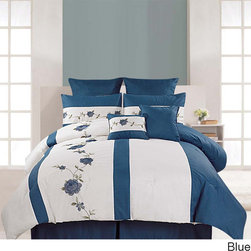 None - Embroidered Saratoga 8-piece Cotton Comforter Set - The Saratoga embroidered 8-piece comforter set includes everything you need to complete your bedding ensemble in a stylish and coordinated fashion. Made of 100-percent cotton,this set is machine washable for easy care and repeated use.