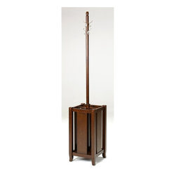 Office Star - Coat Rack w 4 Double Hooks & Integrated Umbre - Beautiful merlot finish on select veneers and solids. Coat tree with umbrella storage. Attractive design compliments most any decor. Four double garment hooks provide ample locations for hanging coats and jackets. Four section storage base for umbrellas and canes. Multi-step finish process. Easy to assemble. 13 in. W x 13 in. L x 72 in. H