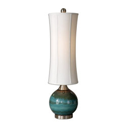 Uttermost - Uttermost Atherton 33.25 Inch Buffet Lamp - Glossy blue ceramic with an olive gray drip, rust accents and brushed aluminum details. The round, modified, tall drum shade is an off-white linen fabric with natural slubbing.