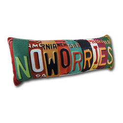 No Worries Retro License Plate Accent Pillow - From Kate Ward Thacker's 'See the USA' collection, this accent pillow adds a fun, carefree accent to any room in your home. It is made to look like pieces of license plates from all different states, spliced together to spell 'No Worries,' and it measures 24 inches long by 9 inches high. The pillow is 100% polyester, from the colorful cover to the soft stuffing, and recommended care instructions are to dry clean or spot clean, only. It makes a great gift for an adventurous friend that is sure to be admired. This pillow was proudly made in the U.S.A.