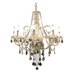 """Joshua Marshal Home Collection - 8 Light 28"""" Chrome Chandelier Victorian Design, Chrome - The dense crystal distribution throughout this stunning design gives this collection an impressive and dynamic presence that will enhance any decor. It is 28"""" wide with a Combination of 100% genuine Swarovski Spectra 14mm crystals (549 pieces), with European 30% lead 40mm ball crystals (1 pieces), European 30% lead 2.0"""" french cut crystals (44 pieces) and European 30% lead 2.5"""" french cut crystals (24 pieces)."""