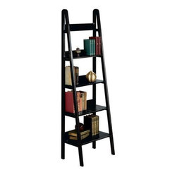 "Home Decorators Collection - Ladder 18""W Bookshelf - Give your room a fresh look with the simple yet elegant styling of the Ladder Bookcase. Perfect for displaying pictures, collectibles, books and more, this furniture has an open design of 5 shelves that graduate in size from top to bottom. Complete your home or office; order today.Made of solid hardwood and hardwood veneer for lasting quality.Available in your choice of finish."