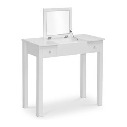 Baxton Studio - Baxton Studio Marie White Vanity Table/Dressing Table - This beautiful piece of furniture has a pair of drawers to keep cosmetics and jewelry organized. The flip-up mirror also offers additional storage space underneath. Keep this table in your bedroom or bathroom to make it easier to look lovely.