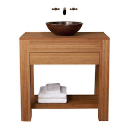 """Native Trails - 36 Inch Single Sink Bath Vanity in Bamboo - Handcrafted from solid, sustainable bamboo with integral top, and a flush soft-close drawer. The warm tones of the bamboo and the clean lines make this contemporary and sustainable piece perfect for your eco-conscious design. Integral top coordinates with any surface mounted sink or add any of our stone tops to combine with any Native Trails sink. Dimensions: 36""""W X 22""""D X 34""""H; Counter Top: Bamboo; Finish: Bamboo; Features: 1 Drawer, 1 Open Shelf; Hardware: N/A; Sink(s): Your Choice of Copper Sink; Faucet: See Cut out Configuration Choices; Assembly: Light Assembly Required; Large cut out in back for plumbing; Included: Base Cabinet; Not Included: Countertop, Sink, Backsplash, Faucet, Mirror"""