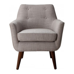 Bobby Berk Home - Marcus Chair, Beige Linen - Our Marcus chair has a clean Mid-Century aesthetic while the small scale button tufting adds a pop of personality. Perched on solid wood legs, this chair is a true classic and is a fashionable addition to living rooms, bedrooms and entryways.