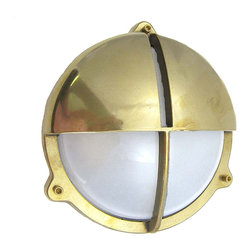 Shiplights - Round Cage Light with Hood, Unlacquered Brass - Our Round Cage Light with Hood is made of solid brass and can be used indoors or outdoors in a wide variety of applications.