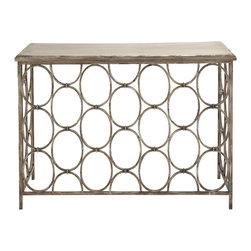 Charming and Unique Metal Wood Console Table - Description: