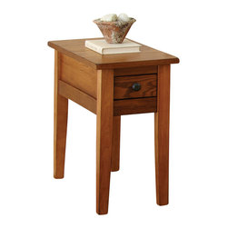 Steve Silver - Steve Silver Liberty 28x13 Chairside End Table in Oak - The Liberty collection lends a rustic casual cottage design for your home. The liberty chairside end table featured in a multi-step oak finish will give you what you're looking for from a cottage occasional table group. What's included: End Table (1).