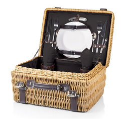 Picnic time - Champion- Picnic Basket for 2, Black - The Champion picnic basket has deluxe service for two, including two wine glasses, two porcelain plates, stainless steel flatware, and two napkins that match the basket's interior. Made of willow with dark brown leatherette accents, the Champion has full-wrapping closure straps, an overlapping lid, and sturdy suitcase-style leatherette handle. Available with red, navy, or black interior lining and matching napkins.