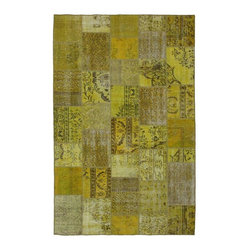 """Pre-owned Gold Overdyed Turkish Patchwork Carpet - Traditional Turkish patterns from an assortment of vintage pieces mix to make this hand made, naturally distressed vintage rug. Full cotton backing and decorative blanket stitch edging.     Remnants of vintage wool on a cotton warp, made entirely by hand in the '60's through '80's when Turkish women still included weaving in their daily homemaking chores. Employing the sturdy double knot technique unique to Turkish rugs, multicolor floral and medallion motifs were created a row at a time using bright hand dyed wools. Considered too old fashioned for modern Turkish homes in their traditional incarnations, these rugs have languished in back rooms of the bazaars‰Ű_until now, as these fragments in excellent condition are overdyed and combined to create modern patchwork statements for the floor.    Note from the seller: """"Our revitalization process keeps rugs that may otherwise get tossed out of landfill. Repurposed discards are helping artisans connect and create, supporting the community we're building here in Istanbul to revive vanishing traditional fiber crafts.‰Űť    Please note that all sales are final - These amazing rugs are coming direct from Istanbul, Turkey and returns will not be allowed."""