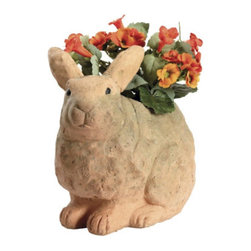 Terra Cotta Rabbit Planter - The daylight is staying with us longer and longer...a sure sign spring is on its way.  This cute terra cotta bunny planter is the perfect way to celebrate the return of warm weather and pretty gardens.  He is especially designed to gradually become covered in moss as he plays outdoors this spring and summer.