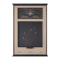 Uttermost Chateau Palmer Chalkboard - Burlap linen fabric accented with distressed aged black details. Six corkscrew magnets included. Chalkboard is surrounded by a frame featuring burlap linen fabric accented with distressed aged black details. Six corkscrew magnets, chalk holder and three hanging hooks are included.