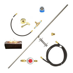 "Easy Fire Pits - DIY Complete Propane Fire Table 48"" T-Burner Kit W/ Key Valve Plus Kit - t48ck+   48""t-burner complete kit w/ key valve & assembly for table side flame control and on/off gas regulation - (low profile) burner, mounting kit, tank connection, variable high-output regulator, 12' hose & fittings; t48ck+:  this kit comes with:"