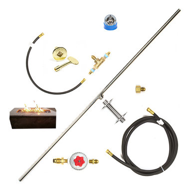 """Easy Fire Pits - DIY Complete Propane Fire Table 48"""" T-Burner Kit W/ Key Valve Plus Kit - t48ck+   48""""t-burner complete kit w/ key valve & assembly for table side flame control and on/off gas regulation - (low profile) burner, mounting kit, tank connection, variable high-output regulator, 12' hose & fittings; t48ck+:  this kit comes with:"""