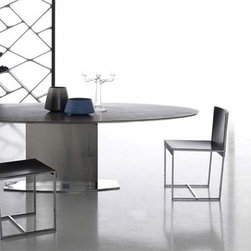 Loto Oval Table - High-end designer table by Italian Alivar. Table. Stainless steel base, polished to a mirror finish. Oval top availablein: Absolute black granite, gold Calacatta marble, white Michelangelo marble, Crystalized marble, Lacquered MDF and S28 Alpine white acrylic stone (LG Hi-Macs).