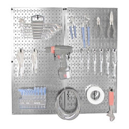 Metal Pegboard Organizer Starter Kit - Turn your garage into a stylish space you aren't embarrassed to go into every day with this pegboard organizer kit.