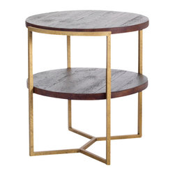 Reclamation Company - Gilbert Side Table, Oak, Clear Lacquer, Metal Base, Antique Brass - The Gilbert collection features reclaimed wood tops and shelves with round curved edges set into industrial bases.  Because this is a unique handmade piece, please allow a 4 to 6 week lead time. Note: Please use the swatch image for an indication of the wood and finish options.