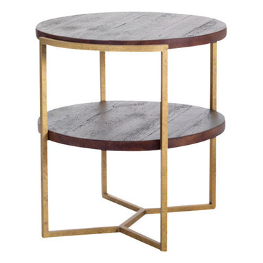 Reclamation Company - Gilbert Side Table, Heart Pine, Mahogany, Metal Base, Antique Brass - The Gilbert collection features reclaimed wood tops and shelves with round curved edges set into industrial bases.  Because this is a unique handmade piece, please allow a 4 to 6 week lead time. Note: Please use the swatch image for an indication of the wood and finish options.