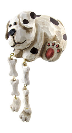 Zeckos - Darling Spotted Dog Dangler Shelf Sitter - Add a unique accent to any shelf or desk in your home or office with this darling dangler. It features a spotted dog with floppy ears and some bones to hide, and measures 3 1/2 inches tall, 5 inches long, and 4 inches wide. It is made of cold cast resin, hand painted, and finished to look as though it has been carved from wood. This piece is a great gift for dog lovers, and is sure to start a conversation.
