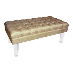 Rojo16 - Montecarlo Bench Gold - Rojo 16 Cote D'Azure Montecarlo Bench is more than comfortable with its exclusive furniture creates a strong focal point and a dramatic impression in a room. This bench with an elegant hint of the French Riviera and its luxurious lifestyle is made with tufted-fabric upholstery. This stylish bench stands on clear-acrylic legs that will perfectly shine and give uniqueness to your room. Avalable in three colors
