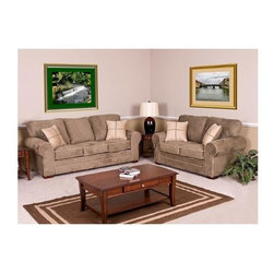 Chelsea Home - Benchmark Upholstry Tammy Sofa w Loveseat - Coffee table not included. Frames are corner blocked. Seat support is maintained with super-loop solid steel no-sag seat springs. On average 14 springs per sofa, 9 springs per loveseat and 5 springs per chair. Seat cushions are designed to be supportive and comfortable. High density 1.8 foam cores. Cushion cores are dacron wrapped for extra softness. Pillow backs are filled with spun and blown super soft hollow fill fiber. All pieces are bench built for better tailoring and consistency in quality. Warranty: One year limited against manufacturer defect, does not cover abuse, stains or normal wear and tear. Made from solid oak and select hardwoods. Made in USA. Sofa: 88 in. W x 35 in. D x 33 in. H (110 lbs.). Loveseat: 67 in. W x 35 in. D x 33 in. H (84 lbs.)