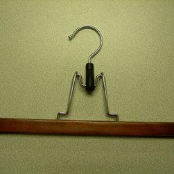 Proman Products - Gemini Flat Skirt Hanger - Gemini-flat 28x2x1cm skirt hanger, without felt, light. walnut finish, chrome hardware, 72/case