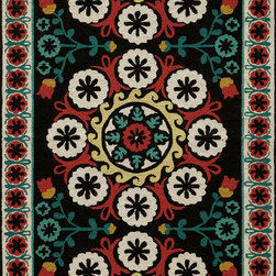Momeni - Momeni Suzani Hook SZI-2 (Black) 5' x 8' Rug - Gorgeous Uzbekistan Suzani textiles are executed with a fresh and cheerful update, modernized in today's fashion-forward color palette. The Suzani collection is inspired by decorative tribal embroidery that dates back to the 18th century . Made in China in a hand-hooked quality, using the finest wool.