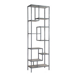 "Zentique - Zentique Hoffman Rack - Captivating geometric design forms the contemporary Zentique Hoffman rack. Framed by a maze of recycled metal, this display cases hardwood shelves provide alluring storage style. 31.5""W x 16""D x 102.5""H; Gray oak"