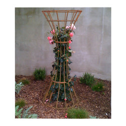 TerraTrellis - Lazio Vase Trellis - Give dimension to your garden and incorporate a sculptural trellis into the mix. The hand welded, sturdy hourglass design, helps amplify your prize-winning roses or other vertical vines. Create texture and capacity in your small, medium or large growing spaces.