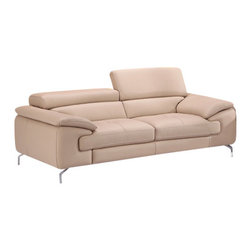J&M Furniture - A973 Modern Premium Leather Sofa in Peanut - With premium grade thick italian leather in Peanut finish, modern design and 2 independent ratchet headrests, the A973 Sofa by J&M Furniture will enhance any of today's living rooms.