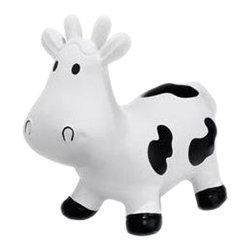"Howdy Bouncy Rubber Cow - Meet howdy, the bouncing phthalate free rubber cow from Trumpette. The howdy cow was designed to provide your young one hours of ride-on bouncing fun. Howdy has extra long ears for easy grasping and is just the right height to hone those balancing skills. The Howdy cow will need to be inflated and once pumped up it measures 22"" long, 18"" tall from its feet to the tip of the ears. This bouncing cow is 10"" at its lowest stand-over height and 8"" at the widest point. Made of safe super-strong, soft, latex and phthalate free vinyl - the Trumpette howdy cow will aid in developing your child's physical abilities, coordination and is available in multiple colors."