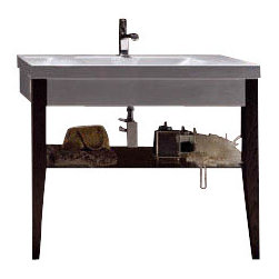 """WS Bath Collections - Bentley 3931C Bathroom Vanity Unit 39.4"""" x 19.7"""" - Bentley 3931C by WS Bath Collections, Bathroom Vanity Unit, Includes Ceramic Bathroom Sink with One or Three Faucet Holes, Two (2) Wooden Legs, and Glass Shelf"""