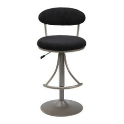 Hillsdale Venus Adjustable Height Swivel Bar Stool - Black Suede Seat - You'll love the style comfort and quality of the the Hillsdale Adjustable Venus Swivel Bar Stool - Black Suede Seat. Constructed with a durable metal base and round stand finished in Champagne this bar stool has a comfortable padded seat covered in plush durable black suede. The stool swivels around to offer you ease of movement and minimize scuff marks on your floor while the rounded foot rest provides added comfort and support. The airlift handle on the side of the bar stool allows you to easily adjust the height from 24 inches to 30 inches and goes from counter to bar height for versatile use. Place this stool at your home bar beside a kitchen counter or with a pub table for a fun modern look. Please note: This item is not intended for commercial use. Warranty applies to residential use only. About Hillsdale FurnitureLocated in Louisville Ky. Hillsdale Furniture is a leader in top-quality affordable bedroom furniture. Since 1994 Hillsdale has combined the talents of nationally recognized designers and globally accredited factories to bring you furniture styling and design from around the globe. Hillsdale combines the best in finishes materials and designs to bring both beauty and value with every piece. The combination of top-quality metal wood stone and leather has given Hillsdale the reputation for leading-edge styling and concepts.