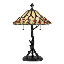 Quoizel - Table Lamp - This unusual Tiffany style lamp is made of the finest creamy white art glass. The outstretched branch design on the shade is accented with genuine Agate stones. Each stone is hand-selected for quality and size, cut in half, placed in a tumbler for 72 hours to make smooth and round, and is then hand-polished to a deep sheen. The branch motif is cleverly echoed in the base.